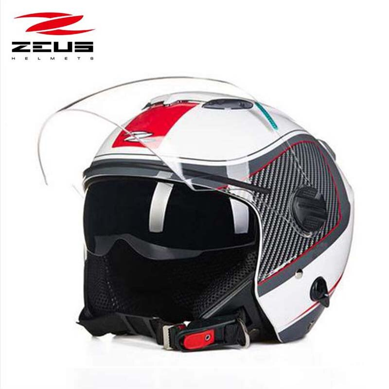 ZEUS 3/4 casco de moto eléctrica de cara abierta 202FB, doble lente, casco de seguridad para moto scooter, gafas de sol interiores M L XL XXL XXXL