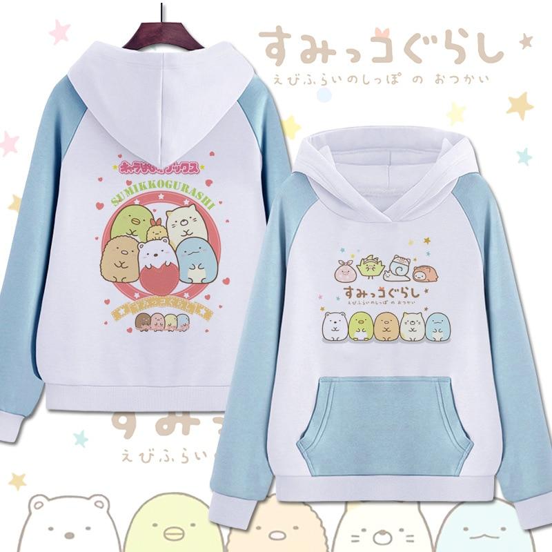 Kawaii Printed Sumikko Gurashi Winter Warm Thicken Sweatshirts Casual Boys Girls Pullover Hoodies Student Children Cartoon Coat