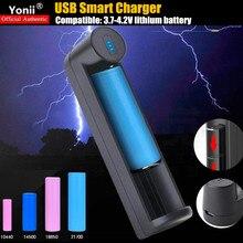 20 pièces 1 emplacement USB chargeur intelligent Compatible3.7V li-batterie 18650 26650 21700 20700 18490 16340 batterie Rechargeable chargeur rapide