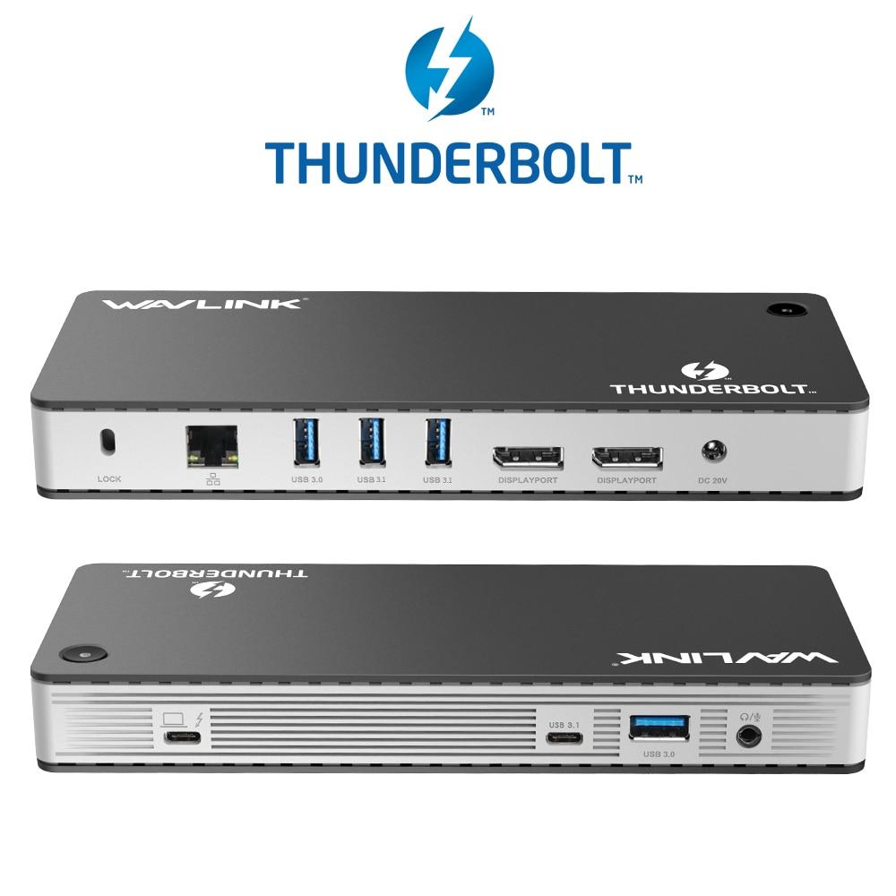 Thunderbolt 3 USB C Docking Station 8K DisplayPort Dual 4K@60Hz With PD USB 3.0/C Gigabit Ethernet For Mac OS Windows Wavlink