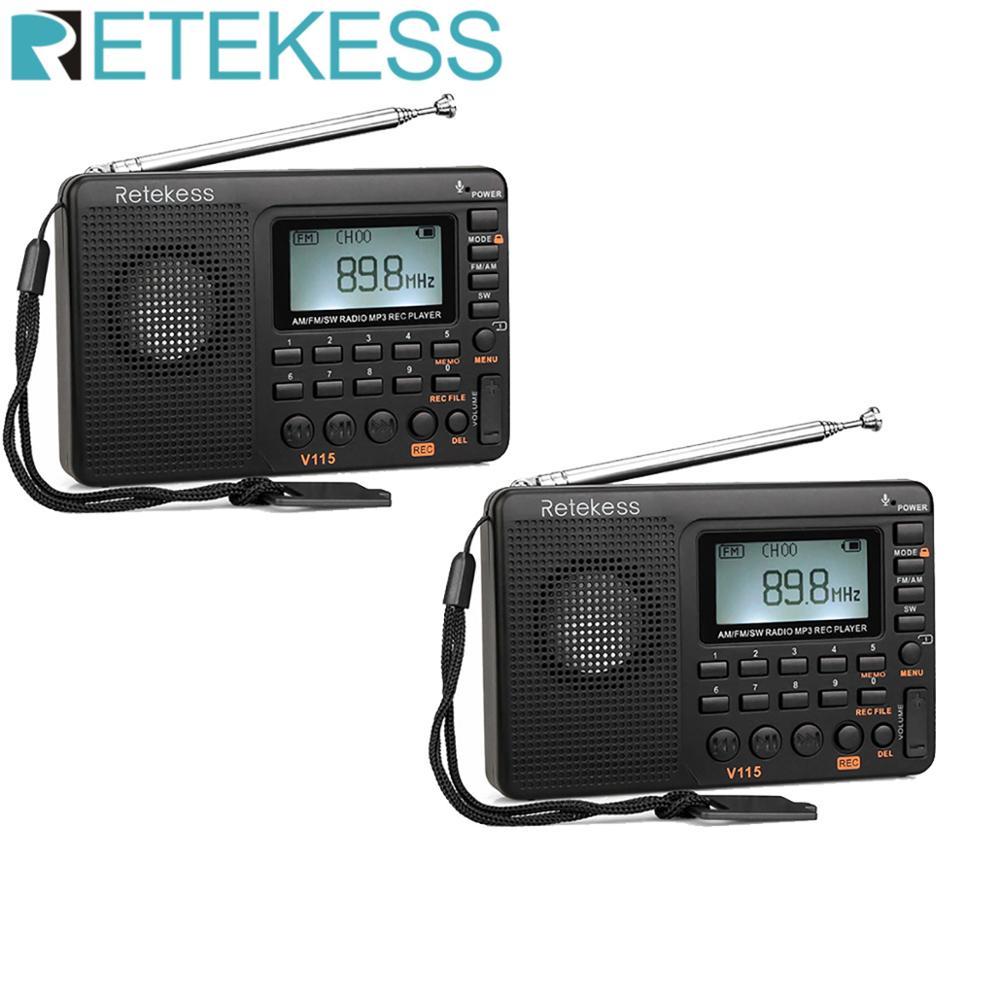 2 pces retekess v115 fm/am/sw receptor de rádio baixo som mp3 player rec gravador de voz com temporizador de sono rádio multibanda