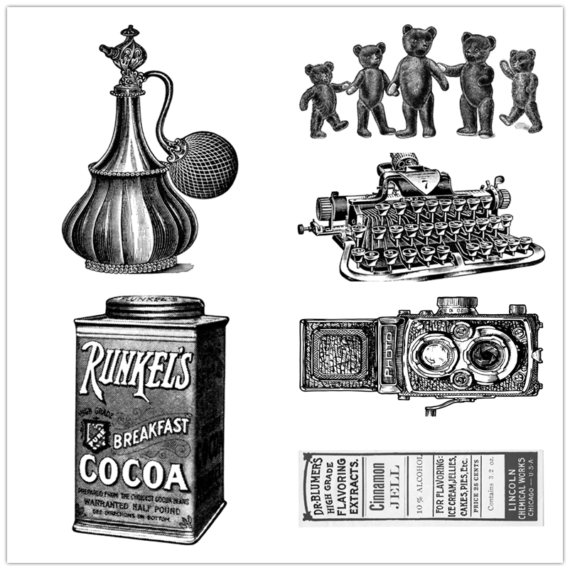 6*10CM Vintage Antique Christmas Clear Stamps Coffee Camera Label Halloween Easter Crafts no Metal Cutting Dies Scrapbooking