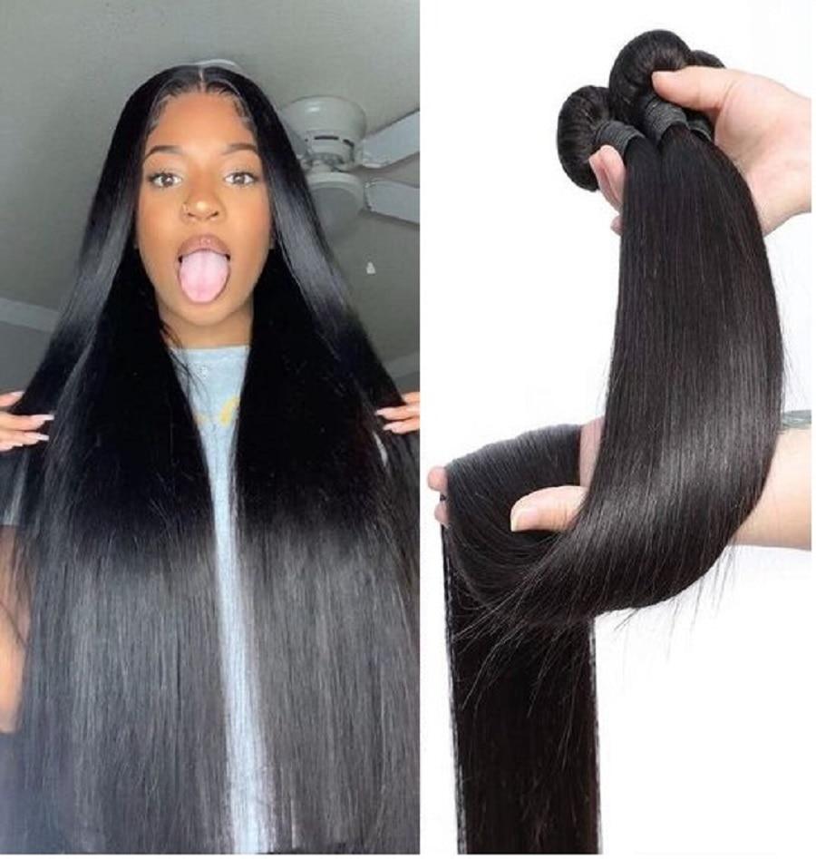 Bone Straight Hair Bundles 32 34 36 38 40 Inch Human Hair Bundles Brazilian Straight Weave Natural H