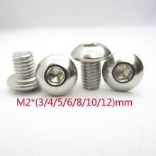 100Pcs M2 * (3/4/5/6/8/10/12) mm ISO7380 Edelstahl 304 Runde Kopf Hex Pilz Buchse Schrauben