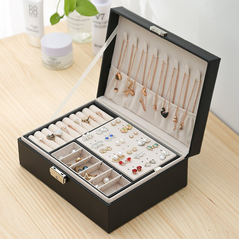 2021 New Double-Layer Velvet Jewelry Box European Jewelry Storage Box Large Space Jewelry Holder Gift Box