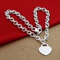 romantic jewelry chain necklace 925 silver love heart pendant necklaces for women men wedding party gifts