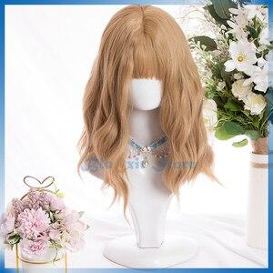 Blonde Lolita Wig Harajuku Sakura Sweet 42cm Long Wavy Curly Synthetic Hair Fringe Bangs Adult Girls Hair