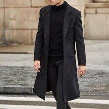 2021 Autumn Winter New Fashion Windbreaker Men Solid Color Lapel Long Sleeve Temperament Woolen Coat