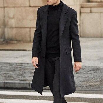 2021 Autumn Winter New Fashion Windbreaker Men Solid Color Lapel Long Sleeve Temperament Woolen Coat Western Style