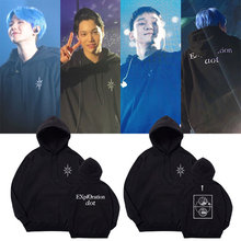 100% Cotton KPOP EXO 2019 PLANET#5 Seoul Concert Hoodie EXO Baekhyun Korean Streetwear Hip Hop Long Sleeve Cotton Hoodie Women
