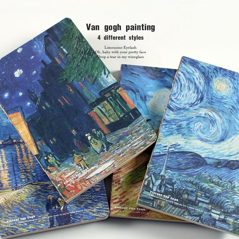 Van Gogh Bloc de notas nota libro Sketchbook cuaderno diario filofax agenda diario papelaria horario semanal planificador Colegio A5