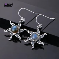 925 silver natural labradorite drop earrings vintage sun shaped ear jewelry for women gift natural stone accessories