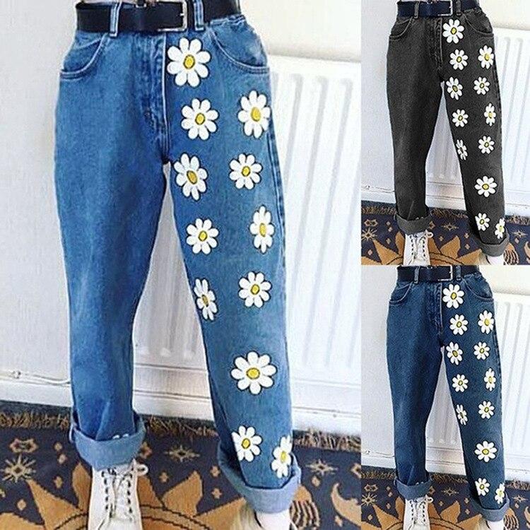 Moda 2020, pantalones vaqueros para mujer, Pantalones rectos de cintura alta, pantalones largos de mezclilla para mujer, pantalones vaqueros Vintage con estampado de margaritas, ropa de calle