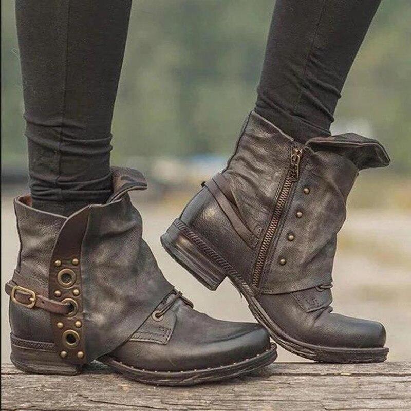 MCCKLE 2020 Neue Damen Ankle Boots Spot Zip Herbst und Winter New Hot Big Size Retro Square Head Damen Pu Lederstiefel