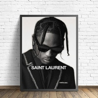 Черно-белый Тревис Скотт музыка звезда рэп хип-хоп рэпер модная модель художественная живопись холст постер настенный домашний декор Квадр...