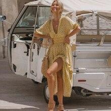Backless boho dress women floral print summer dress long holiday beach dress vestidos casual maxi sundress 2020 yellow dress