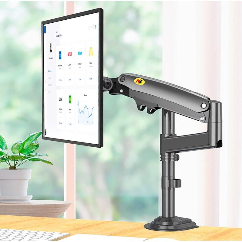 "NB nuevo H100 17-27 ""Monitor brazo resorte Gas movimiento completo LCD TV montaje 2-12kg ergonómica doble brazo abrazadera soporte 2pc USB3.0"