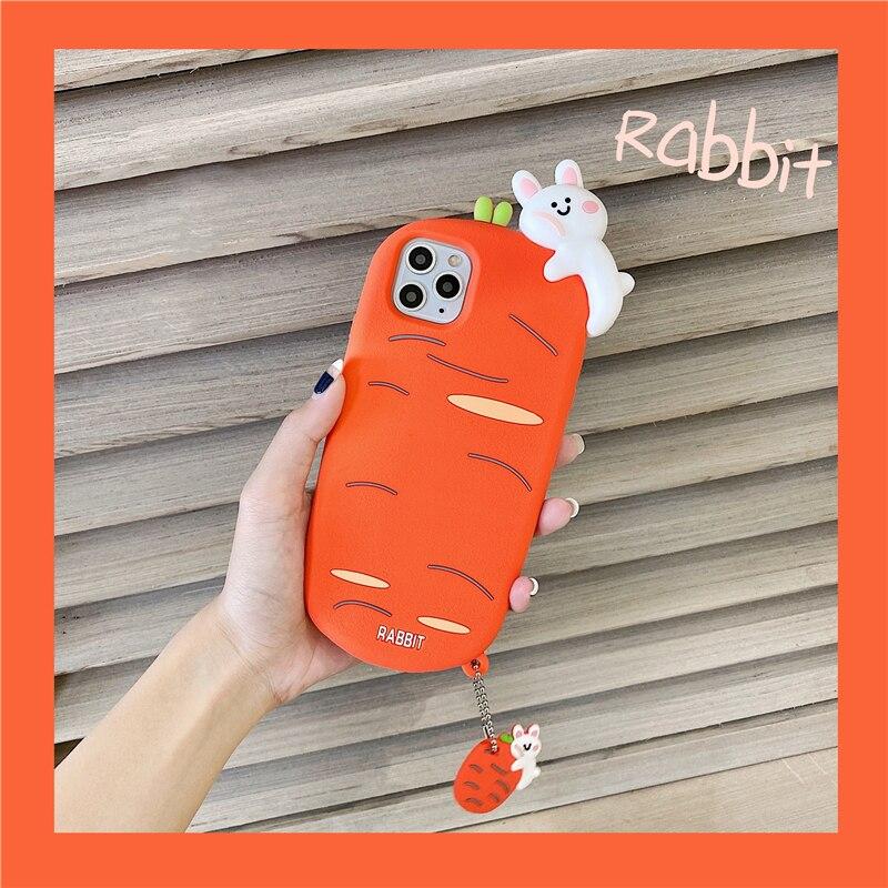 Ins bonito 3d cenoura caso de telefone para iphone 11 pro x xr xs max 6s 7 8 plus se 2020 macio kawaii dos desenhos animados animal silicone capa