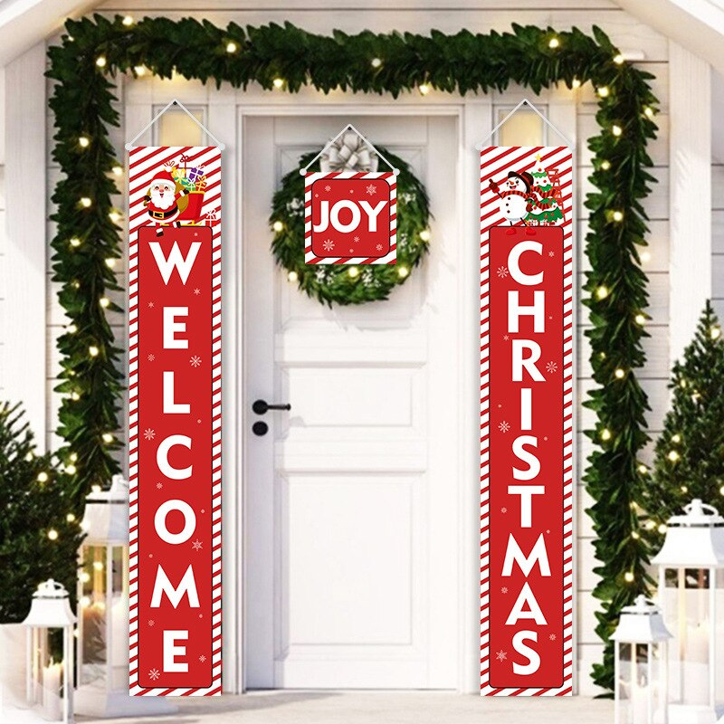 Christmas Decorations Red Merry Christmas Porch Sign Xmas Hanging For Home Door Banner Santa Claus Snowman Three-Piece Set