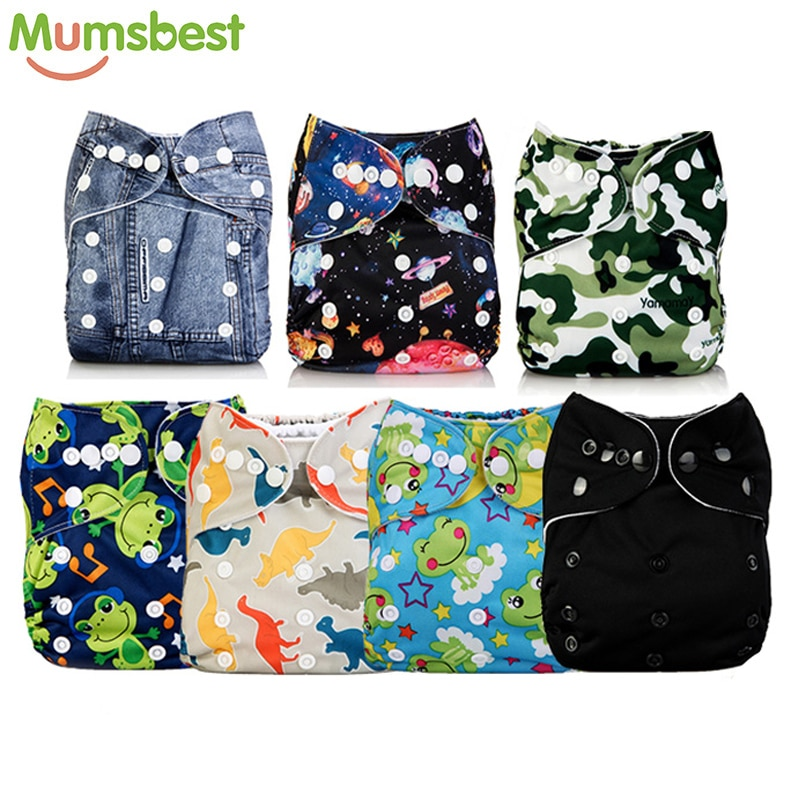 [Mumsbest]7 Pcs/Lot Pocket Printing Baby Cloth Diaper Cover Baby Boy Nappies No inserts Waterproof Ecological Absorbent Nappy