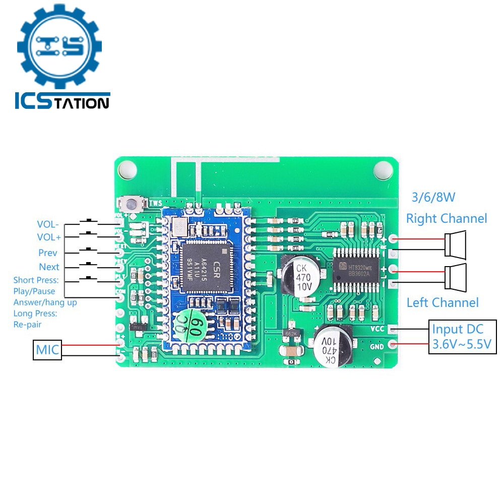 Placa amplificadora QCC3031/3034, Bluetooth 5,0, 2x5W/6W/8W, APTXLL, compresión sin pérdidas, TWS, módulo...