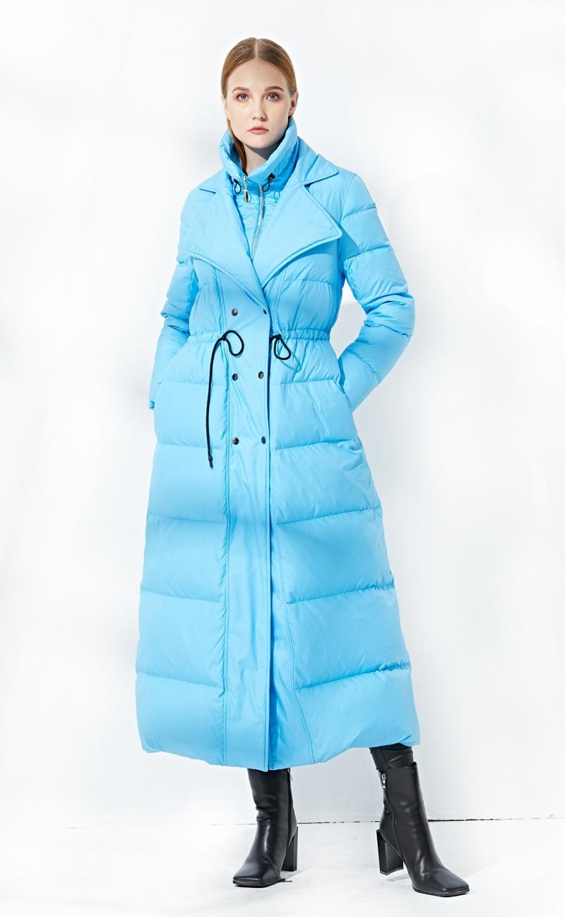 Moda invierno thcker cálido X-Largo mullido 90% abajo Abrigos Mujer oversize a prueba de viento falso dos peces pato abajo ropa de abrigo f219