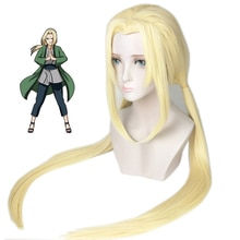 Tsunade Wigs Anime Blonde Long Styled Synthetic Hair Cosplay Costume Wigs + Wig Cap