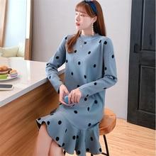 2019 polka dot long sweater skirt over the knees women's new autumn and winter hooded woolen knit dress