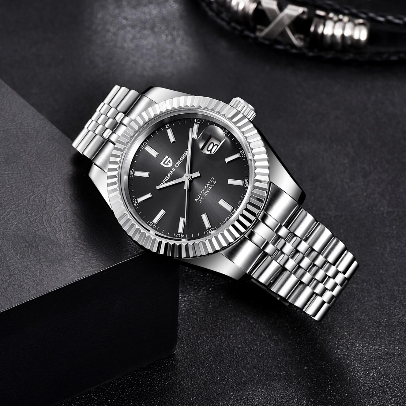 باجاني-ساعة ميكانيكية فاخرة من الياقوت للرجال ، ساعة أوتوماتيكية من الفولاذ المقاوم للصدأ ، مقاومة للماء حتى 100 متر