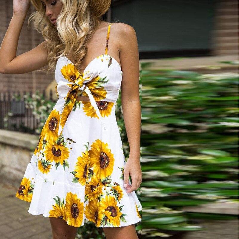 2020Summer Sunflower Dress Women Party Dress Plus Size Flower Beach Dress Female Floral Backless Midi Striped Dress Ladies 3XL plus size floral handkerchief hem cami dress