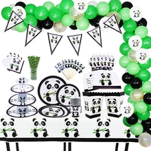 Theme Cartoon Animal Panda Birthday Party Decorations Kids Disposable Tableware Set Plate Napkins Cu
