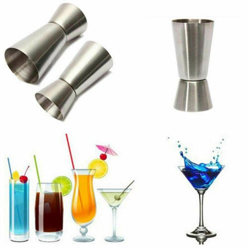 Delgado de acero inoxidable doble Jigger cóctel de Jigger licor Mearing Copa Martini herramienta de medición Bar 25ml 50ml