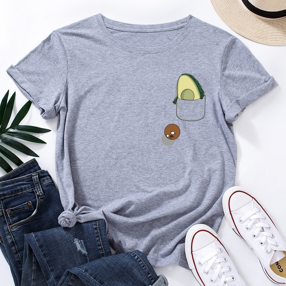 Pocket Avocado Healthy Food Vegan T-Shirt Funny Shirts for Women Female Graphic Tee Short Sleeve Sum