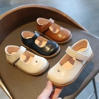 kids flat shoes childrens casual sandals school girls princess pu leather shoes non slip kids retro soft bottom loafer tx27