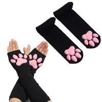 3D Силиконовые перчатки в виде кошачьих лап, чулки, Чулки, милые безпальцевые варежки с котятами, перчатки с зажимами для женщин и девочек, ко...