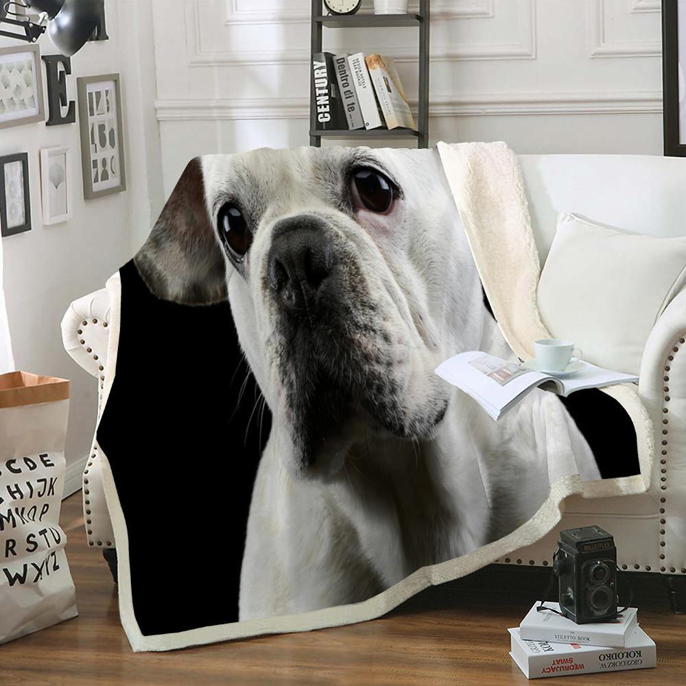 Cobertor macio do animal de estimação do dachshund das colchas do animal de estimação da dalmácia para crianças 3d animal de estimação cobertor do lance do cão bulldog sherpa na cama