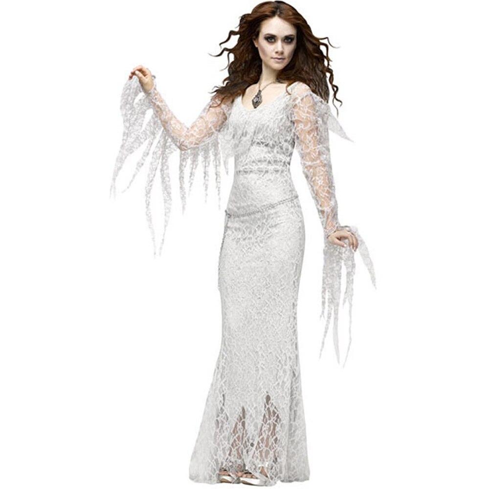 أنثى مصاص دماء غيبوبة الساحرة تأثيري فستان من الدانتيل فتاة شبح العروس موحدة هالوين ازياء للنساء 2021