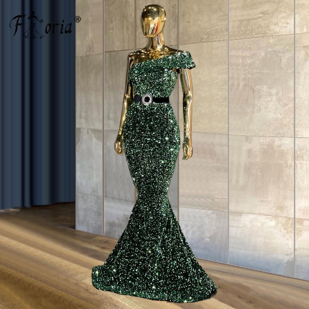 Un hombro lentejuela vestidos para graduación de color verde sirena longitud piso...