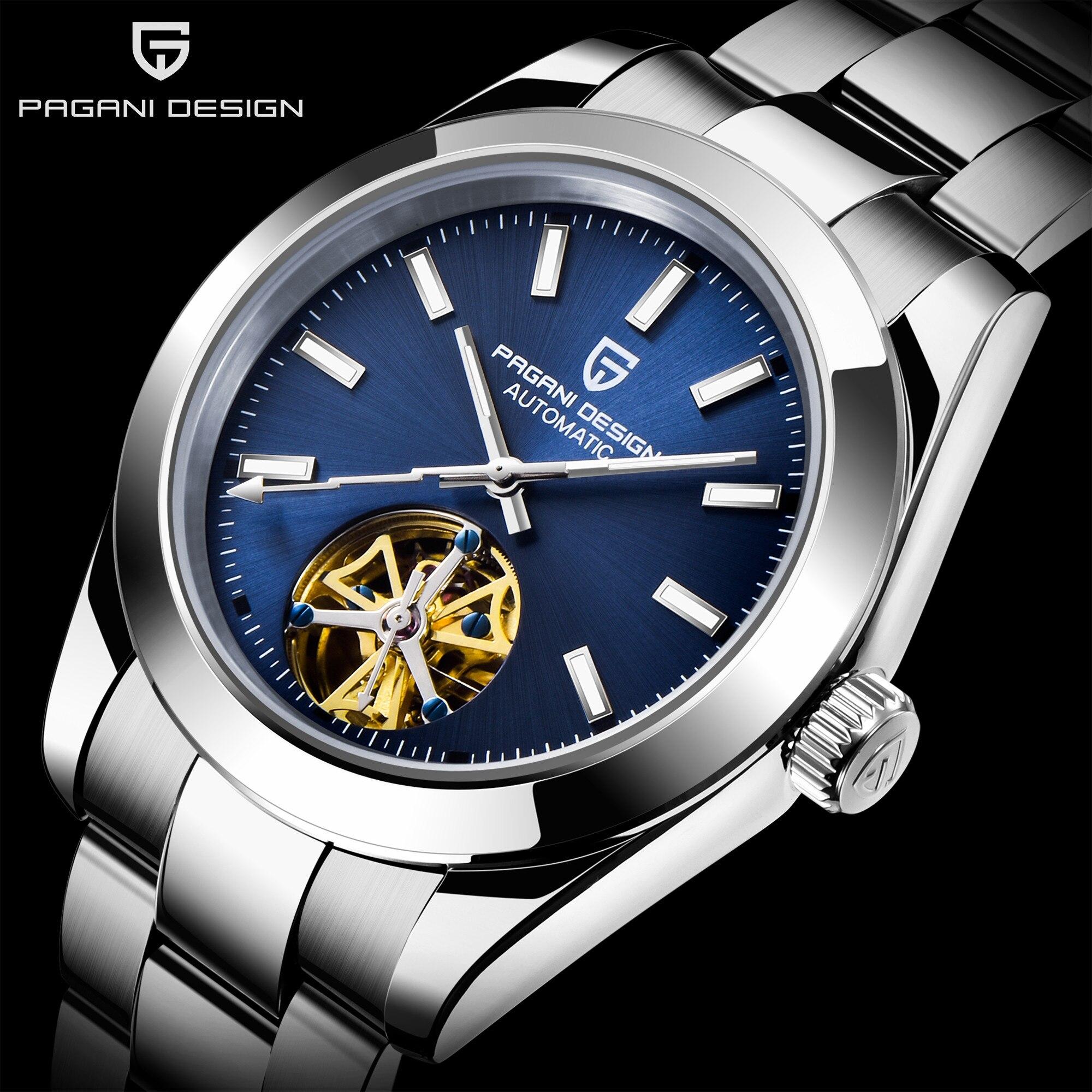 Relojes de negocios PAGANI, Tourbillon mecánico automático para hombre, reloj azul oscuro de la mejor marca, reloj deportivo impermeable de 100M para hombres