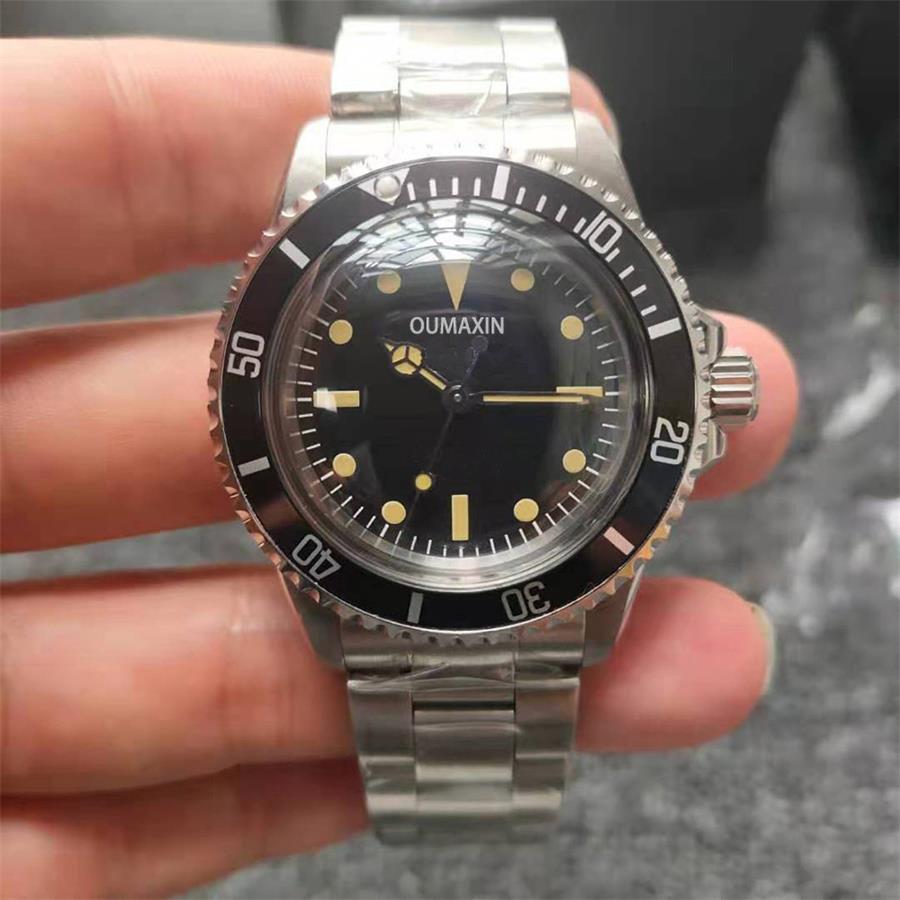 40mm Vintage  Men's Watch Automatic Mechanical Acrylic Glass Black Dial Men's Clock 316L Stainless S
