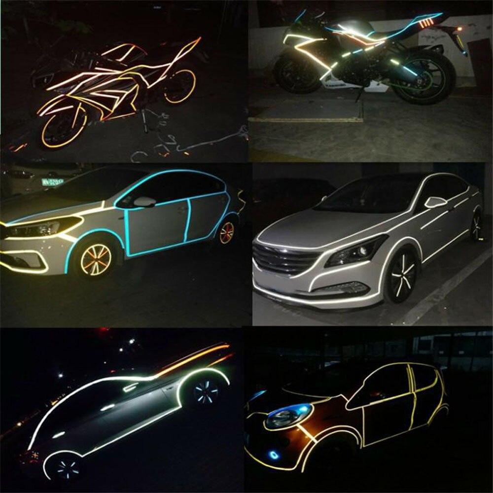 Cinta reflectante para coche calcomanía divertida DIY luminosa de advertencia y seguridad que brilla en la oscuridad, cinta adhesiva para noche, accesorios para coche y bicicleta