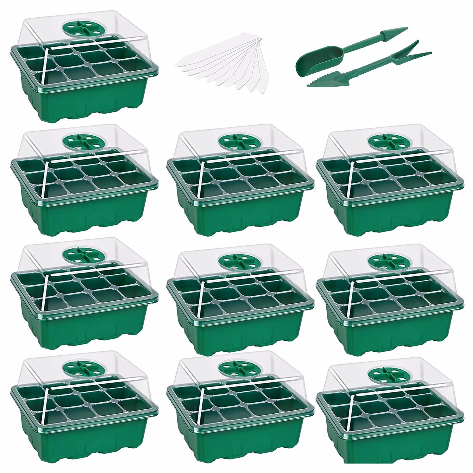 40# 10-pack Seed Starter Trays Nursery Pots Seedling Tray Humidity Adjustable Switch Garden Decor Ac