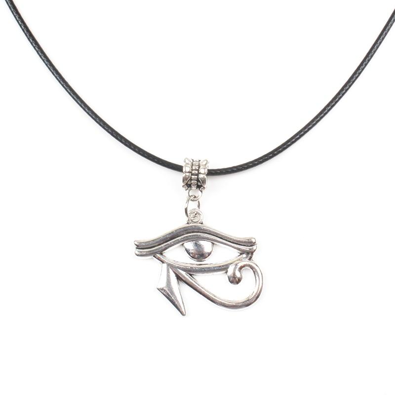 Antiguo Egipto serie El Ojo de Horus Anubis Cobra Faraón Hathor Tefnut Goodness Cleopatra collar de cuero colgante