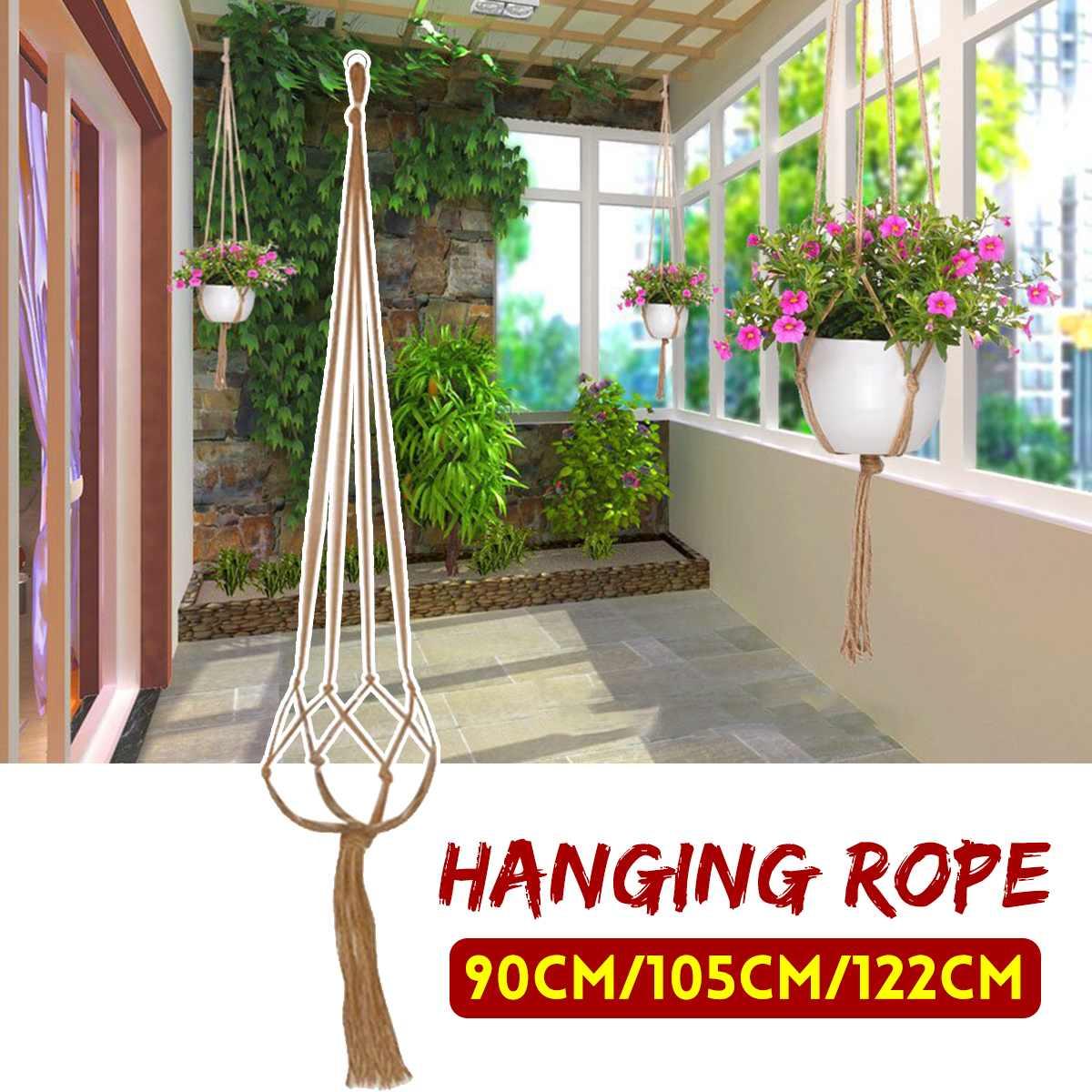 90/105/122cm Vintage Decor Macrame Plant Hanger Basket Flowerpot Plant Holder Hanging Knotted Lifting Rop