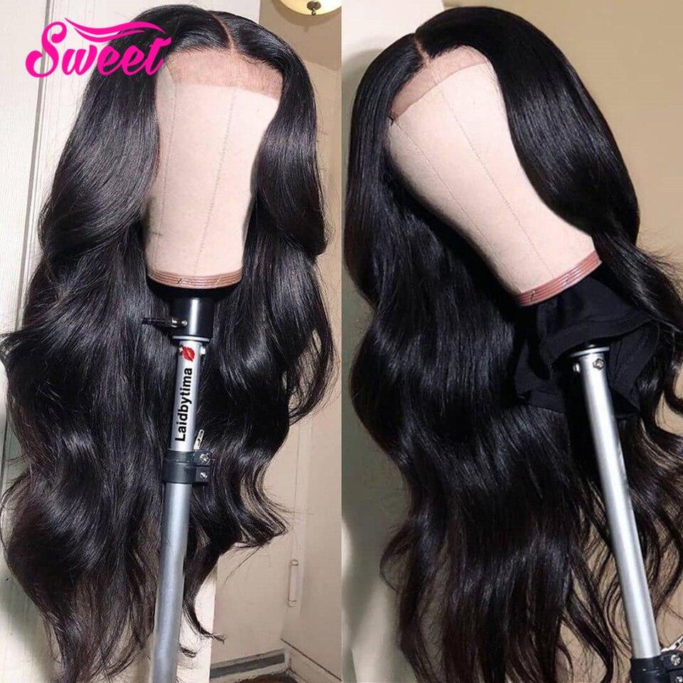 Peluca de pelo humano Remy brasileño 5*5 pelucas de cierre de encaje de onda de cuerpo dulce 6*6 Peluca de cierre de encaje Pre desplumado para mujer negra densidad de 130