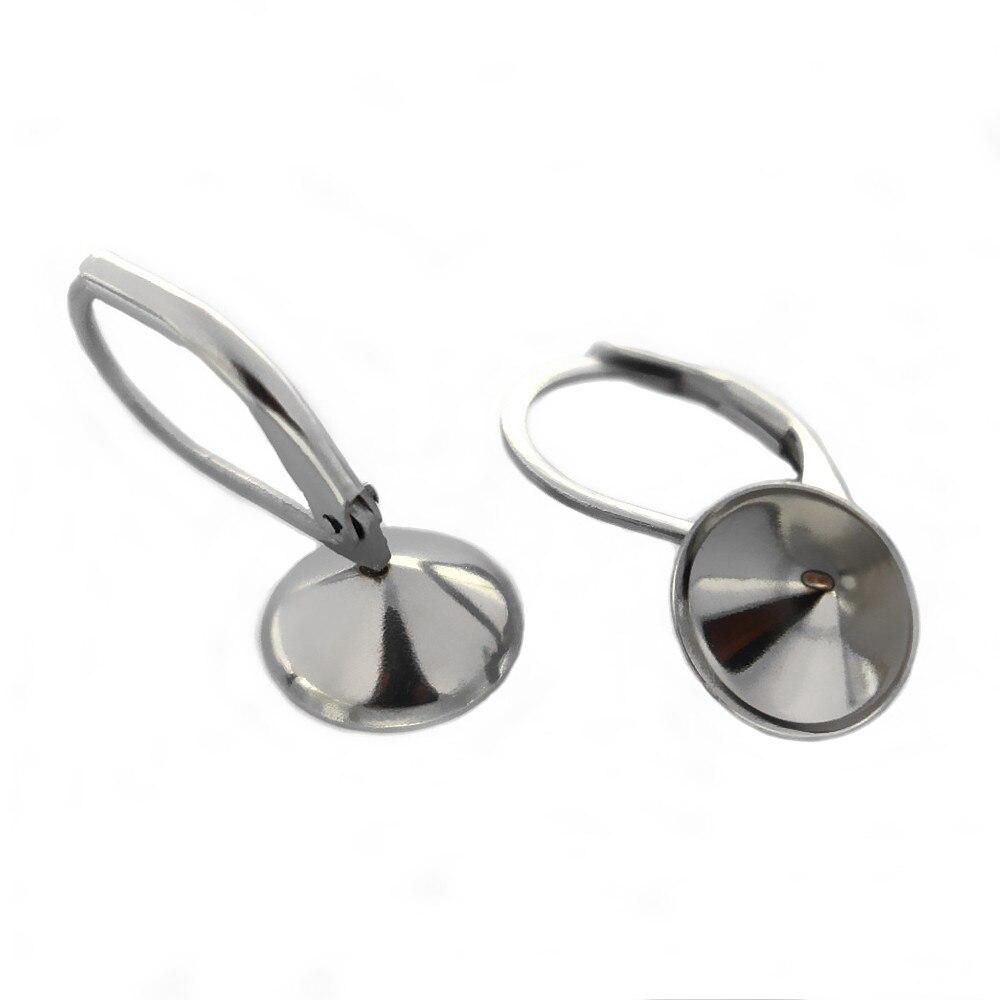 Stainless Steel Ear Clip Wire Hook Earrings Settings Blanks with 9mm Circle Bezel Rivoli Stones Cabochons Bases DIY Findings