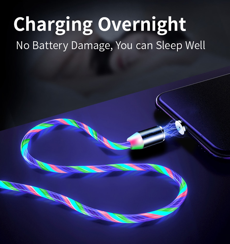 Flujo de iluminación, Cable Micro USB magnético tipo C, Cable de carga LED para Samsung M 40 30 20 A 80 60 70 J4 7 6 2 8 + Note 9 S 10