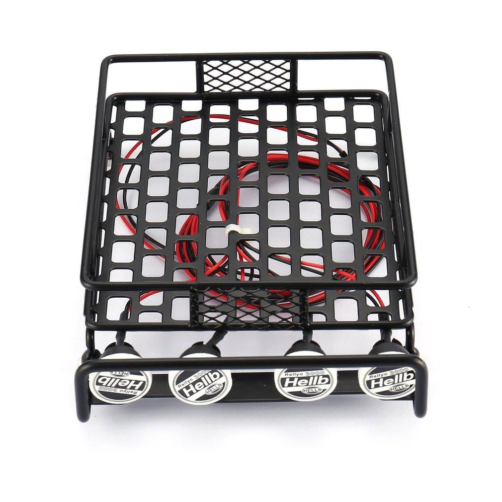 Carro rc universal rack de teto bagagem transportadora com 4 luzes led redondas 1/10 rc rock crawler axial scx10 d90 TRX-4