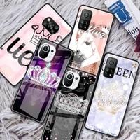 queen princess glass phone case for xiaomi redmi note 9s 8 9 8t 7 9c capa for mi 10t pro 9t 10 lite tempered cover