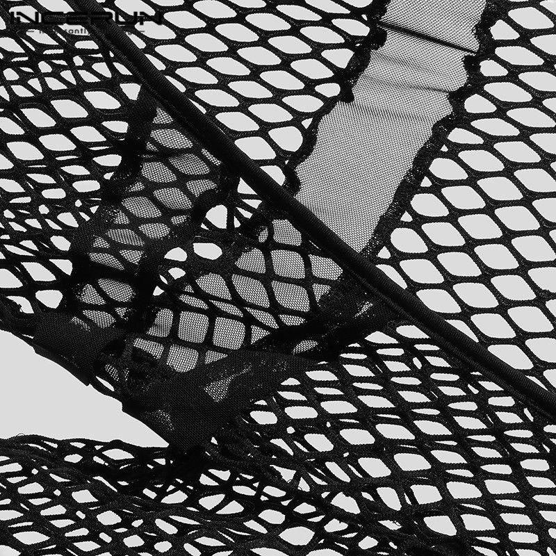 Мужчина Фитнес Боди Домашняя одежда INCERUN Мужчины Прозрачный Прозрачный Сетка Комбинезоны Модный Однотонный Цвет Длинный рукав Прозрачный Комбинезон Пижама 5XL